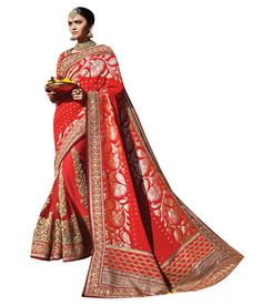 Naksh - Red Colour with Heavy Embroidery Georgette Jacquard Bridal Saree
