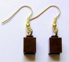 Brown LEGO (R) brick 1x1 on a Silver/Gold plated dangle (hook) - PIF (Pay It Forward) on Etsy, $0.22 CAD