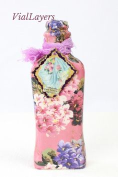 Miniature love potions are perfect decorative gifts for small spaces. Each one is unique. Great for displaying in curio cabinets or on a vanity with perfume bottles. Handmade using ephemera and found objects. Unique Home Decor, Home Decor Items, Curio Cabinets, Decorative Bottles, Gifts For Her, Great Gifts, Altered Bottles, Valentines Day Decorations, Bottle Art
