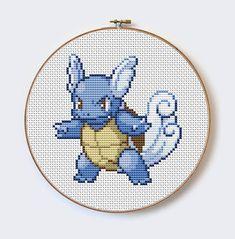 Wartorle Pokemon Go modern cross stitch Pokemon por MilaliParade