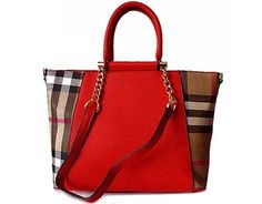 Designer Style Red Checked Handbag With Chain Linked Straps A Shu Co