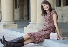Dresses with boots, autumn outfits, Printed shirt dress with boots.