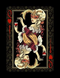 Venexiana Dark Playing Cards - Queen of Hearts Playing Cards Art, Custom Playing Cards, Vintage Playing Cards, Film Steampunk, Dark Deck, Art Carte, Queen Of Hearts, Heart Art, Deck Of Cards