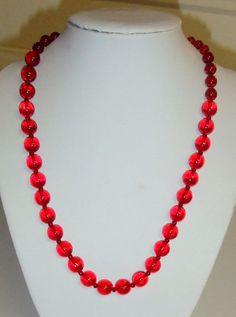 1103~Elegant Vintage Ruby Red Graduated Glass Bead Necklace** #StrandString