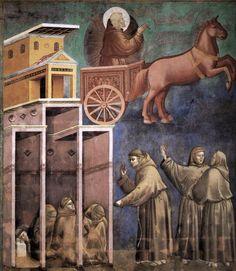 Giotto Apparizione di San Francesco su un Carro di Fuoco 1295-1299 tecnica affresco Assisi Basilica Superiore