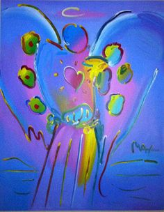 """Peter Max """"Angel with Heart V #7"""""""
