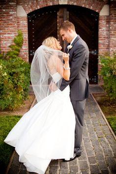 charcoal gray and white for the smitten groom #groom #brideandgroom #weddingchicks http://www.weddingchicks.com/2014/01/30/pink-and-peach-bejeweled-wedding/