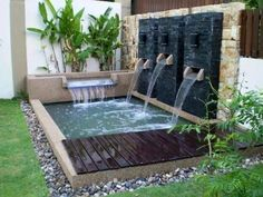 kolam ikan minimalis halaman rumah is part of Ponds backyard - Small Water Gardens, Small Backyard Gardens, Ponds Backyard, Outdoor Gardens, Koi Fish Pond, Fish Ponds, Small House Garden, Garden Houses, Koi Pond Design