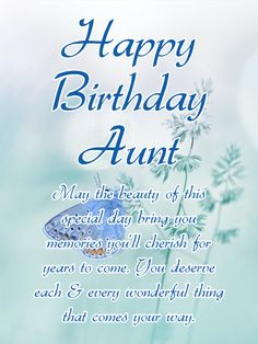 A Delicate Blue Background With Butterfly Gracefully Hovering Brings Your Warmest Wishes For Dear Aun Aunt Birthday CardsHappy