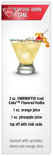 Smirnoff Upside-Down Cake cocktail recipe with Smirnoff Iced Cake Flavored Vodka, orange juice, pineapple juice and club soda. (Favorite Cake Pineapple Upside Down) Party Drinks, Cocktail Drinks, Cocktail Recipes, Alcoholic Drinks, Beverages, Cake Vodka Drinks, Cake Vodka Recipes, Drink Recipes, Birthday Drinks