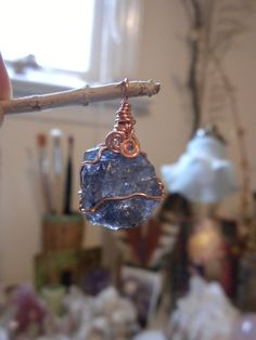 Iolite Pendant in Copper Wire Wrap  Hammered by HeartSongHealings, $78.88