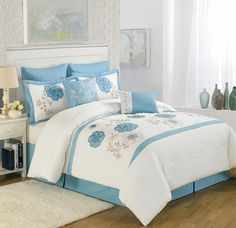 Comforter Cover Set White with Blue Floral Work - 4 Piece