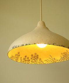 papier mache shade by sachie muramatsu ( Inspiration) Lamp Shades, Light Shades, Edison Lampe, Keramik Design, Ceramic Light, Paperclay, Lamp Light, Lighting Design, Light Fixtures