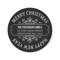 Classic Chalkboard Merry Christmas Label Round Stickers, customise with your own text Chalkboard Merry Christmas, Christmas Labels, Christmas Gifts For Mom, Christmas Stickers, Merry Christmas And Happy New Year, Modern Christmas, Christmas Holidays, Christmas Cards, Cabin Christmas