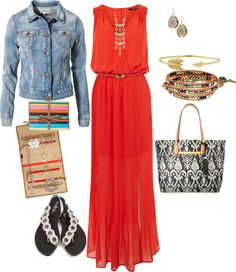 """""""Coral denim and bags"""" by kikisweeney on Polyvore"""