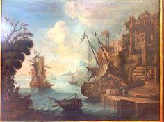 Marina con porto,barche,personaggi e rovine XVIII secolo