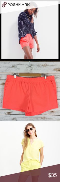 """j. crew // cotton faille pull on elastic shorts Here's a polished twist on a warm-weather essential: lightweight shorts in a cotton faille that's a bit more refined than your average beach-day gear—but thanks to a pull-on elastic waistband, these are just as comfortable. Cotton. Elastic waistband. Machine wash. I'm obsessed with these - they are so cute and comfy. Awesome neon coral orange color. 3"""" inseam. New with tags. J. Crew Shorts"""