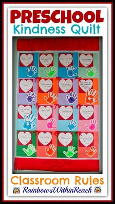 Kindness Quilt Rules in Preschool Child's Perspective! is part of Buddy bench - Kindness Quilt Rules in Preschool from the Child's Perspective at RainbowsWithinReach Preschool Projects, Preschool Class, Preschool Themes, Preschool Lessons, In Kindergarten, Preschool Friendship Activities, Preschool Valentine Ideas, Manners Preschool, Feelings Preschool