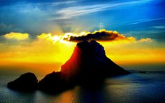 """This is the real scene of exotic,imagine of musical movie """"South Pacific""""--Island of Es Vedra(Spain territory Ibiza, Life Happens, South Pacific, Monument Valley, Free Images, Mystic, Scene, Sunset, World"""