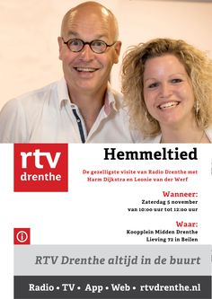 Zaterdag 5 november gaat het programma Hemmeltied van RTV Drenthe live uitzenden tijdens de Open BedrijvenDag Midden-Drenthe op Lieving 72 in Beilen. Kobus en de Rokkers zal live optreden tijdens deze uitzending, dus luister mee of kom gezellig langs! Tijdens deze Open BedrijvenDag Midden-Drenthe zullen zich 26 bedrijven gezamenlijk presenteren bij Koopplein Midden-Drenthe. http://koopplein.nl/middendrenthe/2886953/kooppleinnl-is-deelnemer-open-bedrijven-dag-drenthe.html