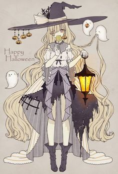 Anime, manga, and video game fan-art artworks from Pixiv (ピクシブ) — a Japanese online community for artists. pixiv - It's fun drawing! Anime Halloween, Halloween Tattoo, Happy Halloween, Halloween Art, Halloween Witches, Halloween 2019, Halloween Outfits, Girls Anime, Anime Art Girl