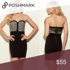 Guess Black Strapless Sweetheart Bustier Dress Short, sexy yet sophisticated bodycon dress with a sweetheart neckline and detachable halter strap. The bodice is a geometric pattern reminiscent of oversized herringbone in black and a light oatmeal/heather gray color (see close up photo). The back features a mesh inlay. This would be a great dress for a fall or winter party! Guess Dresses Mini