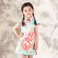 2016 Fashion Chinese Style Girl Dress Cotton Short Sleeve Chinese Cheongsam for Kids Baby Girls Qipao Spring Autumn Girl Clothes