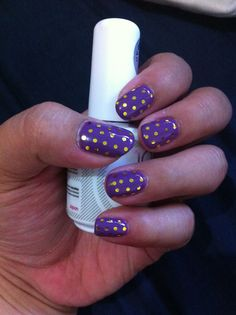 Purple and gold nails Show your spirit!