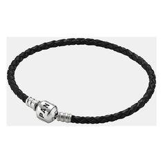 PANDORA Woven Leather Charm Bracelet ($40) ❤ liked on Polyvore