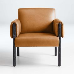 Diderot Wood and Leather Chair | Crate and Barrel Unique Furniture, Custom Furniture, Barrel Chair, Occasional Chairs, Living Room Chairs, Lounge Chairs, Black Wood, Swivel Chair, Crate And Barrel