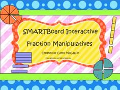 This set of interactive fraction manipulatives for the SMARTBoard contains a variety of circles, rods, squares, and rectangles. They can be customized and ungrouped so students can manipulate the unit fractions. Download my preview file to see how they work! $