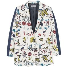 MANGO Floral jacquard blazer (€120) ❤ liked on Polyvore featuring outerwear, jackets, blazers, jacquard jacket, mango blazer, blazer jacket, long sleeve blazer and one-button blazer