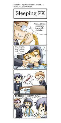 SAO 4koma - Sleeping PK by GreenTeaNeko.deviantart.com on @deviantART I really wish she did that.