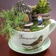 """Lavender"" Tea Cup and Saucer Flower Planter"
