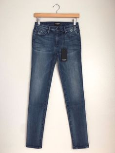 BLACK ORCHID Jude Mid Rise Super Skinny Jeans Pants Distressed Blue 27 $150 #22 #BlackOrchid #SlimSkinny
