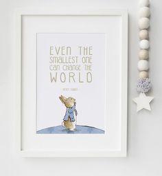 Lovely >> Peter Rabbit Child Quote Beatrix Potter Nursery Print Image Christening Present