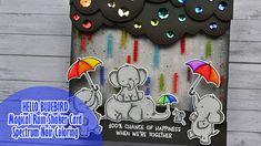 Elephant Design, Cute Elephant, Spectrum Noir Markers, Rainbow Magic, White Gel Pen, Shaker Cards, Animal Cards, Card Tutorials, Distress Ink