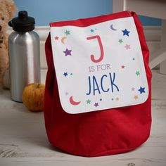 I love this Bag, personalised for the kids. Rucksack, backback, for Mum, for the kids, toddlers bag. Perfect size for school or pre - school Toddler Bag, Back To School Gifts, Unique Presents, Little Man, Pre School, Stars And Moon, Personalized Gifts, Lunch Box, Reusable Tote Bags