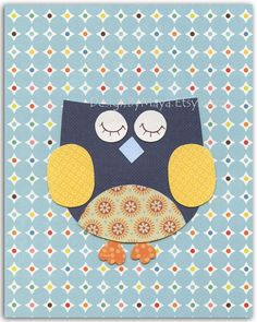 Nursery wall art print, Baby boy room decor, Owls ...Blue Owl.....navy blue, light blue, orange, yellow. $17.00, via Etsy.