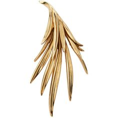 Oscar De La Renta Antiqued Palm Leaf Pin (760 RON) ❤ liked on Polyvore featuring jewelry, brooches, pin, jewelry pins & brooches, light gold, pin jewelry, oscar de la renta, palm tree jewelry, palm jewelry and pin brooch