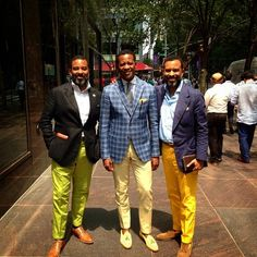 """The distinguished gentleman from the great state of New York, Park en Madison discoursing with Mark & Marlon Austin of Bespoke Couture, """"The Real Bespoke"""" earlier yesterday on Madison Avenue... Thats just too much Bespoke for one street to have.  This ain't for punks..."""