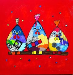 Alle kippen op n stok by Ester Steintjes Acrylic Painting Tips, Baby Painting, Chicken Art, Funky Art, Spring Art, Marker Art, Whimsical Art, Bird Art, Rock Art