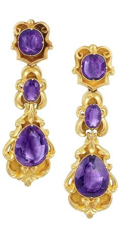 Antique Gold and Amethyst Brooch and Pair of Pendant-Earrings circa 1840.