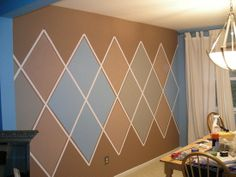 how to paint argyle - thinking of doing something similar but more tonal to the powder-room instead of wallpaper