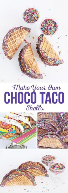 Shells Make Your Own Choco Taco Shells - A yummy Cinco de Mayo treat!Make Your Own Choco Taco Shells - A yummy Cinco de Mayo treat! Party Ideas, House Party, Choco Taco, Ice Cream Taco, Mexican Dessert Recipes, Fiestas Party, Brownie, Thinking Day, Dessert