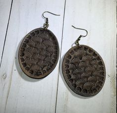 Shell hand stamped leather earrings-Oval