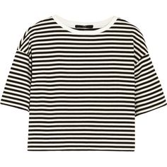 Tibi Ren cropped striped cotton-blend jersey top (185 TND) ❤ liked on Polyvore featuring tops, crop tops, shirts, black, loose fitting tops, loose tops, tibi, loose fit tops and loose crop top