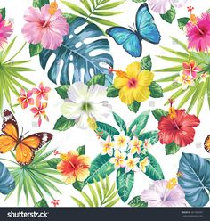 Tropical seamless pattern with palm leaves, flowers and butterflies. Vector illustration.