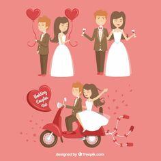 Casais felizes do casamento Vetor Premium