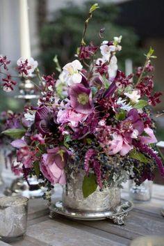 Purple flowets in the silver vase